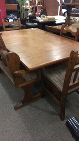 Table with 4 Chairs and Bench - Wood in Fort Leonard Wood, Missouri