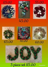 Christmas door wreaths in Kingwood, Texas