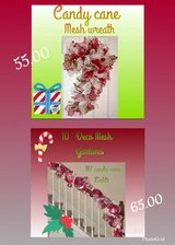 candy cane wreath and mesh garland in Kingwood, Texas
