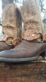 leather boot jewelry with rhinestones and brass rings in Cleveland, Texas