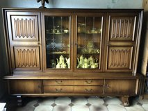 solid wood cabinet with display section in stained glass in Spangdahlem, Germany