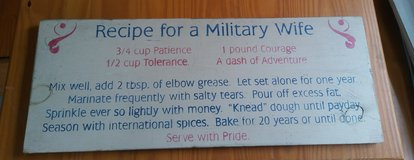Recipe for Military Wife Sign in Tacoma, Washington