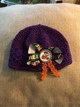 Baby crochet hat with Halloween Minnie bow NEW in Bartlett, Illinois