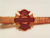 1981 Hutchinson Fire Department 125th Gold Tone Tie Tack Clasp Bar Pin Lapel Suit in Kingwood, Texas