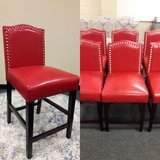 Red Faux Leather Counter Height Bar Stools in Travis AFB, California
