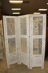 White Antique Room Divider Wooden Screen 3 Panel in 29 Palms, California