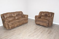 Leather Sofa and Over-sized Chair reclining set by Lane Furniture in Spring, Texas
