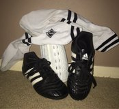 Gently used Adidas youth cleats & socks w shin guards, size  13 in Rolla, Missouri