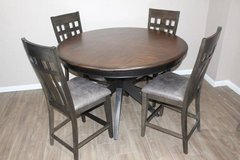 Solid Wood Dark brown ROUND dining table with 4 chairs  FREE DELIVERY in Spring, Texas