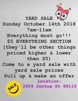 $5 YARD SALE in Nellis AFB, Nevada