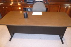 "REDUCED 6' long x 30"" wide, 2-tone, wood-grain looking top, METAL DESK, w/storage shelf in back/... in Katy, Texas"