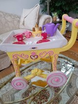 Disney Beauty and the Beast tea cart With Dishes in Sugar Grove, Illinois