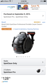 Bissell 3624 SpotClean Professional Portable Carpet Cleaner - Corded in Okinawa, Japan