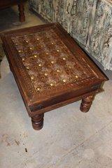 Rustic Hand Carved Coffee Table with Reclaimed Brass Stars in Birmingham, Alabama