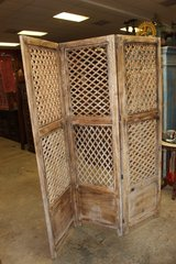 Intricately Carved Wooden Tri-fold Brown Screen in 29 Palms, California