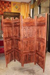 Ornate Wood Carved Screen Brown Room Divider in 29 Palms, California