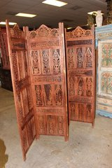 Antique Room Divider Wooden 4 Panel Brown in 29 Palms, California
