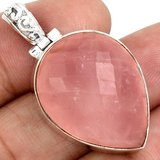 New - Rose Quartz 925 Sterling Silver Pendant (Includes a chain) in Alamogordo, New Mexico