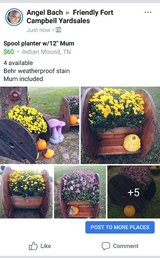 """Spool planters w/12"""" mum in Fort Campbell, Kentucky"""
