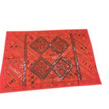 India Vintage Red Sari Tapestry With Miror Patchwork Wall Hanging Throw in Birmingham, Alabama