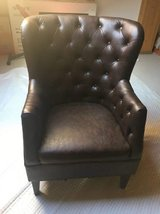 Brown Pleather Wingback Chair in Ramstein, Germany
