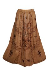BOHO GYPSY HIPPY EMBROIDERED LONG SKIRT RAYON A-LINE SUMMER STYLE ETHNIC SKIRTS in Honolulu, Hawaii