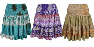 Boho Gypsy Hippie Dancing Skirts Vintage Recycled Ruffle Flare Skirt Lot Of 3 in Honolulu, Hawaii