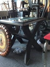 End table dark brown with glass top in Travis AFB, California