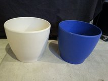 "Ceramic flowerpot blue and white 10.6"" diameter and 10.2"" high each $3 in Stuttgart, GE"