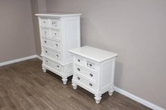 Selling this brand NEW set of white chest of drawers with night stand in Spring, Texas
