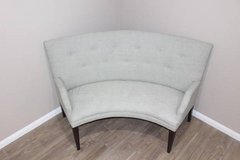 Soft green Curved sofa in EXCELLENT CONDITION in Houston, Texas