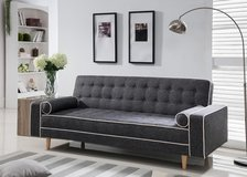 BRAND NEW! CONTEMPORARY GREY LINEN TUFTED SOFA SLEEPER WITH PILLOWS! in Camp Pendleton, California