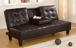 BRAND NEW! BROWN LEATHER SOFA BED SLEEPER WITH CUPHOLDER ACTION! in Vista, California