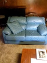leather love seat and queen sofa bed in Orland Park, Illinois