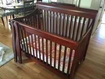 Solid cherry baby crib and mattress (converts to full size bed) in Naperville, Illinois