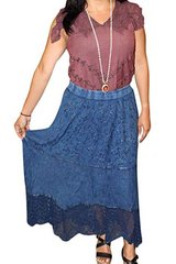 Long Skirt Embroidered Blue Rayon Maxi Skirt S in 29 Palms, California