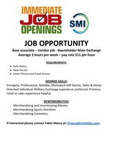 Base Associate - part time vendor for SMI - average 3 hours per week, hourly pay , $11 per hour in Baumholder, GE
