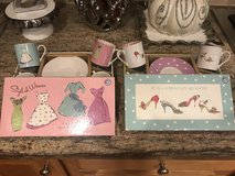 NEW! 2 sets of 4 espresso cups & saucers! Dress & Shoe themed! in Bolingbrook, Illinois