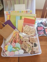 Craft Box With Stamps, Ink Pads, Bags, Cut Out Tags, Ribbons, Craft Paper, Bakers Twine in Ramstein, Germany