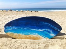 Beach resin surfboard art in Camp Pendleton, California