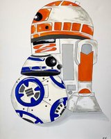 R2d2 and bb8 paintings in Camp Pendleton, California