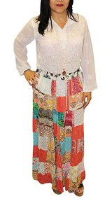 Patchwork Colorful Rayon Long Maxi Skirt S in 29 Palms, California