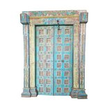 Antique Doors Om Indian Blue Yellow Teak Iron Haveli Architecture in Huntsville, Alabama