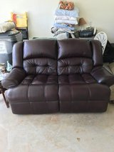 Leather recliner love seat couch in Byron, Georgia