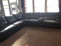 Black leather sectional in Morris, Illinois