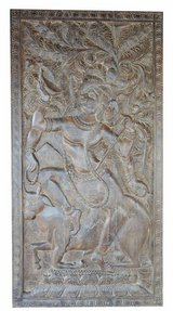 Antique Handcrafted Shiva on Nandi Yoga Barn Door Panel in 29 Palms, California