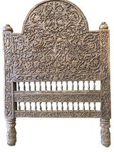 Antique Headboard Intricate Floral Carved Wood Bed Frame in 29 Palms, California