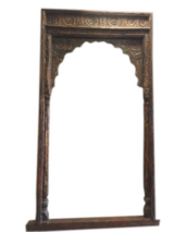 Vintage 18c Hand Carved Sun Medallion Arch Columns Huge Haveli Entrance Gate in 29 Palms, California
