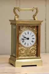 Late 19th Century Carriage Clock with Ornate Dial Mask (France, c. 1890) in Miramar, California