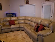 3 Piece Leather Sofa Sleeper Sectional with 2 Recliners in El Paso, Texas